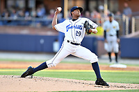 Asheville Tourists starting pitcher Erick Julio (29) delivers a pitch during a game against the West Virginia Power at McCormick Field on May 10, 2017 in Asheville, North Carolina. The Tourists defeated the Power 4-3. (Tony Farlow/Four Seam Images)