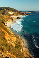 The Point Sur Lighthouse from the Hurricane Point area along Highway 1 along the Central Coast, Big Sur, California.