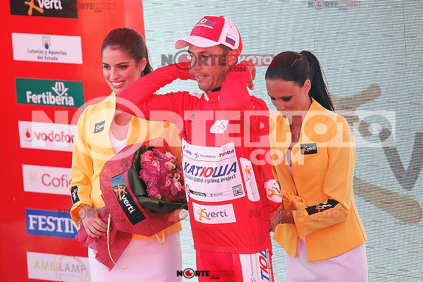 Joaquin Rodriguez with the red jersey of leader after the stage of La Vuelta 2012 between Vilagarcia de Arousa and Mirador de Erazo (Dumbria).August 30,2012. (ALTERPHOTOS/Acero) /NortePhoto.com<br /> <br /> **CREDITO*OBLIGATORIO** <br /> *No*Venta*A*Terceros*<br /> *No*Sale*So*third*<br /> *** No*Se*Permite*Hacer*Archivo**<br /> *No*Sale*So*third*