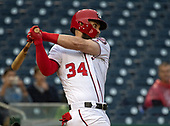 Washington Nationals right fielder Bryce Harper (34) bats in the eighth inning against the Washington Nationals at Nationals Park in Washington, D.C. on Sunday, September 23, 2018.  Harper flied out to the left fielder to end the at-bat.  The Mets won the game 8 - 6.<br /> Credit: Ron Sachs / CNP<br /> (RESTRICTION: NO New York or New Jersey Newspapers or newspapers within a 75 mile radius of New York City)
