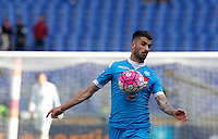 Calcio, Serie A: Roma vs Napoli. Roma, stadio Olimpico, 25 aprile 2016.<br /> Napoli&rsquo;s Elseid Hysaj controls the ball during the Italian Serie A football match between Roma and Napoli at Rome's Olympic stadium, 25 April 2016.<br /> UPDATE IMAGES PRESS/Riccardo De Luca