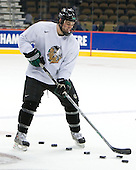 Zach Jones (North Dakota 6) - The 2008 Frozen Four participants practiced on Wednesday, April 9, 2008, at the Pepsi Center in Denver, Colorado.