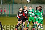 Action from the John Joe Naughton U13's Cup game, as St Brendan's Park Odhran Ferris and Killarney Celtic's John Grady both jump for the ball, during their encounter in Christy Leahy Park on Saturday last.