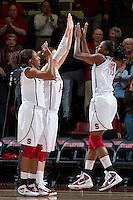 STANFORD, CA - January 20, 2011: Stanford Cardinal's Chiney and Nnemkadi Ogwumike during Stanford's 64-38 victory over UCLA at Maples Pavilion in Stanford, California.