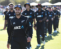 Kane Williamson leads his players from the field.<br /> New Zealand Blackcaps v England. 5th ODI International one day cricket, Hagley Oval, Christchurch. New Zealand. Saturday 10 March 2018. &copy; Copyright Photo: Andrew Cornaga / www.Photosport.nz