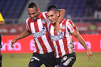 BARRANQUIILLA -COLOMBIA-14-SEPTIEMBRE -2014. Jorge Aguirre  del Atletico junior celebra su gol contra  Uniautonoma , partido de la Liga  Postobon Novena  fecha disputado en el estadio Metroplitano.  / Jorge Aguirre of Atletico Junior celebrates  his goal against  of Uniautonoma, party date Ninth Postobon League match at the Metropolitano stadium. Photo: VizzorImage / Alfonso Cervantes / Stringer