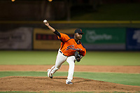 AZL Giants relief pitcher Weilly Yan (58) delivers a pitch during a game against the AZL Angels on July 10, 2017 at Scottsdale Stadium in Scottsdale, Arizona. AZL Giants defeated the AZL Angels 3-2. (Zachary Lucy/Four Seam Images)