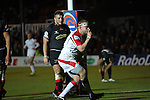 Ulster prop Tom Court signals to the Ulster fans after scoring the first try of the match..Celtic League.Newport Gwent Dragons v Ulster.Rodney Parade.26.10.12.©Steve Pope
