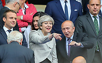 British Prime minister Theresa May points something out during the International Friendly match between France and England at Stade de France, Paris, France on 13 June 2017. Photo by David Horn/PRiME Media Images.