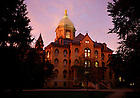 Main Building at sunset.<br /> <br /> Photo by Matt Cashore/University of Notre Dame