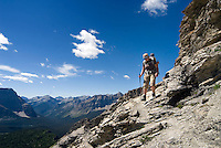 The Highline trail, Alberta and British Columbia, Canada, August 2008. The Ridge walk between The Nub and the Nublet is among the most spectacular ones in the Rockies. The Banff Highline trail can be hiked in 7 days and runs through Banff National park as well as Assiniboine Provincial park. Photo by Frits Meyst/Adventure4ever.com