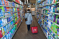 A lone shopper walks into a Metro grocery store in Quebec city March 4, 2009.