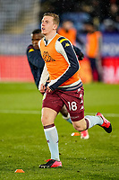 9th March 2020; King Power Stadium, Leicester, Midlands, England; English Premier League Football, Leicester City versus Aston Villa; Matt Targett of Aston Villa warms-up prior to the match