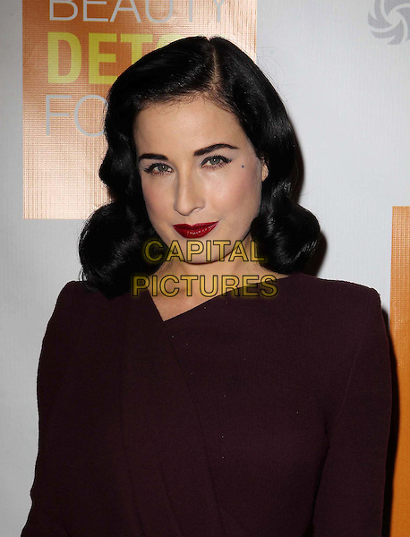 "Dita Von Teese.Celebrity Nutritonist Kimberly Snyder Hosts Book Launch Party For ""The Beauty Detox Foods"" At Smashbox, Hollywood, California, USA..March 26th, 2013.headshot portrait maroon burgundy lipstick  red .CAP/ADM/KB.©Kevan Brooks/AdMedia/Capital Pictures."