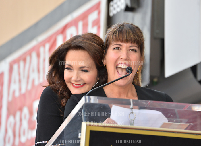 Lynda Carter &amp; Patty Jenkins at the Hollywood Walk of Fame Star Ceremony honoring TV's &quot;Wonder Woman&quot; star Lynda Carter on Hollywood Boulevard, Los Angeles, USA 03 April 2018<br /> Picture: Paul Smith/Featureflash/SilverHub 0208 004 5359 sales@silverhubmedia.com