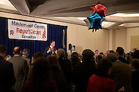 Former senator Rick Santorum speaks at the Hillsborough County Republican Gala at the Crowne Plaza Hotel in Nashua, New Hampshire, on Jan. 6, 2012. Former congressmen Rick Santorum and Newt Gingrich spoke at the event. Both are seeking the 2012 Republican presidential nomination.