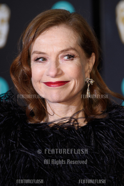Isabelle Huppert arriving for the BAFTA Film Awards 2018 at the Royal Albert Hall, London, UK. <br /> 18 February  2018<br /> Picture: Steve Vas/Featureflash/SilverHub 0208 004 5359 sales@silverhubmedia.com