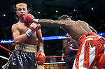 Uncasville, CT: (r-l) Lovemore N'Dou lands on Paulie Malignaggi  during their IBF Junior Welterweight Championship at the Mohegan Sun casino, June 16th, 2007. Malignaggi won the belt from N'Dou by unanimous decision.. Photo by Thierry Gourjon.