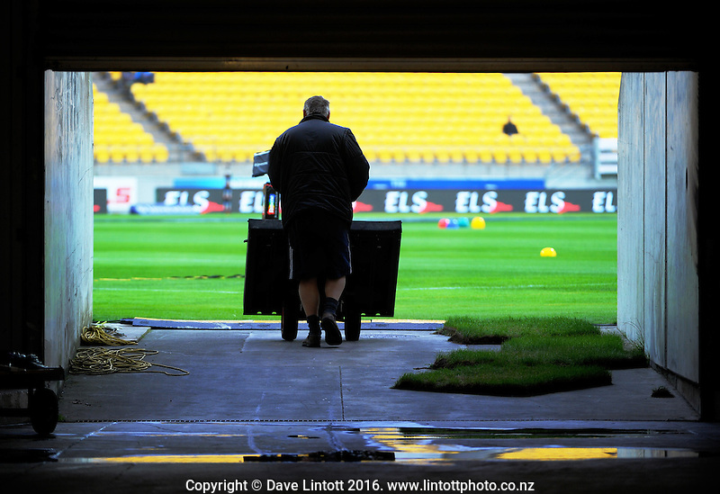 Pre-match set-up action before the Super Rugby match between the Hurricanes and Southern Kings at Westpac Stadium, Wellington, New Zealand on Friday, 25 March 2016. Photo: Dave Lintott / lintottphoto.co.nz