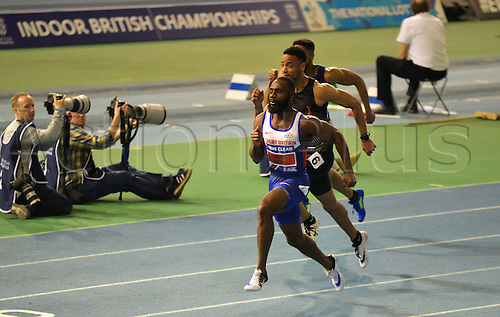 27.02.2016. EIS Sheffield, Sheffield, England. British Indoor Athletics Championships Day One. Sean Safo-Antwi wins his heat of the 60m.