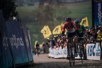 Jelle Wallays (BEL/Lotto-Soudal) &amp; Alex Kirsch (LUX/WB Aqua Protect-Veranclassic) in the first ascent up the Paterberg<br /> <br /> 102nd Ronde van Vlaanderen 2018 (1.UWT)<br /> Antwerpen - Oudenaarde (BEL): 265km