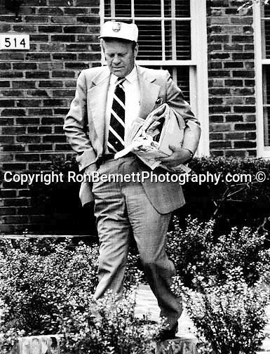 President Gerald Ford <br /> leaves his home in Alexandria Virginia before moving the White House,  President Gerald Ford, President Gerald Ford Photo by Ron Bennett,