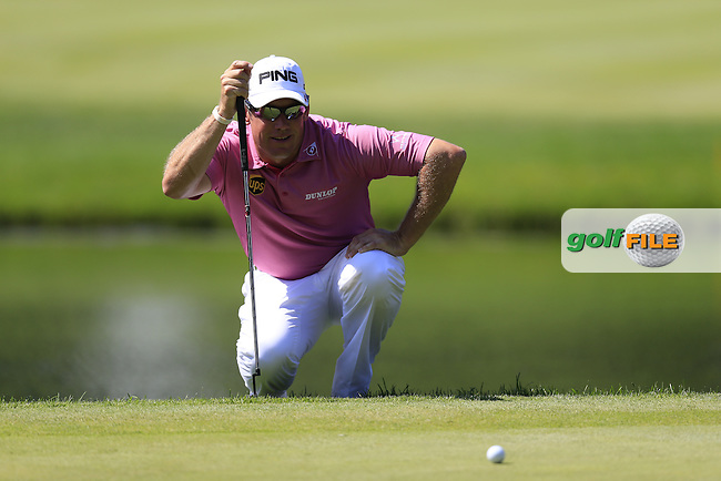 Lee Westwood (ENG) at the 16th green during Thursday's Round 1 of the 2013 Bridgestone Invitational WGC tournament held at the Firestone Country Club, Akron, Ohio. 1st August 2013.<br /> Picture: Eoin Clarke www.golffile.ie