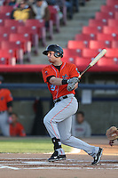 Michael Snyder (29) of the Inland Empire 66ers bats during a game against the High Desert Mavericks at Mavericks Stadium on May 6, 2015 in Adelanto, California. Inland Empire defeated High Desert, 10-4. (Larry Goren/Four Seam Images)
