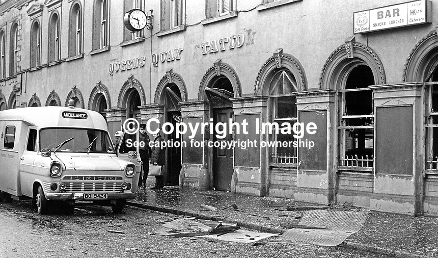 Ambulance at scene of Provisional IRA explosion at Queen&rsquo;s Quat Raily Station, Belfast, N Ireland, 27th November 1971. 197111270479a<br /> <br /> Copyright Image from Victor Patterson, 54 Dorchester Park, Belfast, UK, BT9 6RJ<br /> <br /> t1: +44 28 9066 1296 (from Rep of Ireland 048 9066 1296)<br /> t2: +44 28 9002 2446 (from Rep of Ireland 048 9002 2446)<br /> m: +44 7802 353836<br /> <br /> e1: victorpatterson@me.com<br /> e2: victorpatterson@gmail.com<br /> <br /> The use of my copyright images is subject to my Terms &amp; Conditions.<br /> <br /> It is IMPORTANT that you familiarise yourself with them. They are available on my website at www.victorpatterson.com.<br /> <br /> None of my copyright images may be used on a website unless they are visibly watermarked, i.e. &copy; Victor Patterson within the body of the visible image. Metadata denoting my copyright must NOT be deleted. <br /> <br /> Web use is extra at currently recommended NUJ rates.