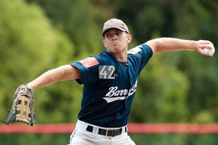 15 July 2010: Jordan Pennington of Team All Star Elite pitches against Team Saint Martin during day 3 of the Open de Rouen, an international tournament with Team France, Team Saint Martin, Team All Star Elite, at Stade Pierre Rolland, in Rouen, France.