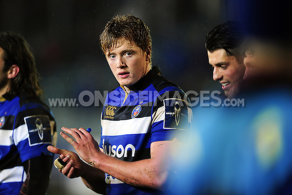 Harry Davies of Bath Rugby looks on after the match. Anglo-Welsh Cup match, between Bath Rugby and Gloucester Rugby on January 27, 2017 at the Recreation Ground in Bath, England. Photo by: Patrick Khachfe / Onside Images