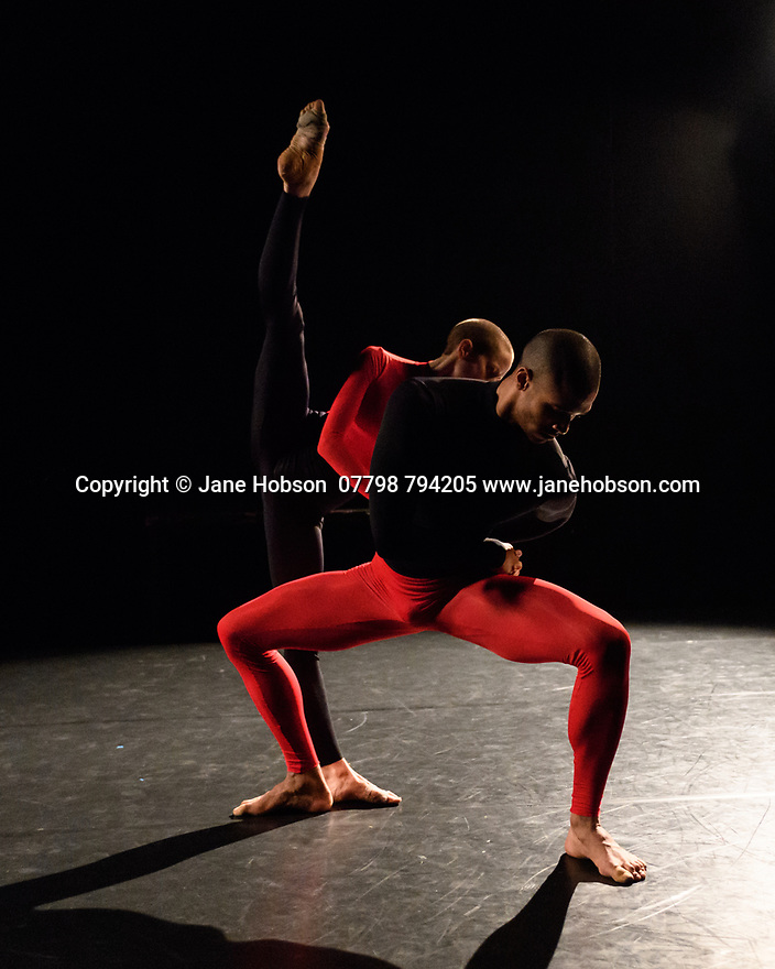 "London, UK. 08.03.2017. Julie Cunningham & Company present ""Returning"" and ""To Be Me"", in a double bill, in The Pit, at the Barbican Centre. The piece shown is ""To Be Me"". The dancers are: Julie Cunningham, Harry Alexander, Hannah Burfield, Alexander Williams. Photograph © Jane Hobson."