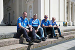 FK Trakai v St Johnstone&hellip;05.07.17&hellip; Europa League 1st Qualifying Round 2nd Leg<br />Saints fans in Vilnius ahead of kick off, from left, Craig Ligertwood, Mark Robertson, Andy Kennedy and Colin Kennedy from Pitlochry<br />Picture by Graeme Hart.<br />Copyright Perthshire Picture Agency<br />Tel: 01738 623350  Mobile: 07990 594431