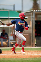 GCL Cardinals Diowill Burgos (49) at bat during a Gulf Coast League game against the GCL Marlins on August 12, 2019 at the Roger Dean Chevrolet Stadium Complex in Jupiter, Florida.  GCL Marlins defeated the GCL Cardinals 9-2.  (Mike Janes/Four Seam Images)