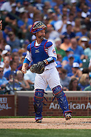 Chicago Cubs catcher David Ross (3) during a game against the Milwaukee Brewers on August 13, 2015 at Wrigley Field in Chicago, Illinois.  Chicago defeated Milwaukee 9-2.  (Mike Janes/Four Seam Images)