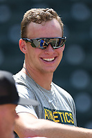Oakland Athletics shortstop Logan Davidson works out with other Major League and Minor League players from around the region on Tuesday, June 2, 2020, at Fluor Field at the West End in Greenville, South Carolina. Team workouts have been shut down during the coronavirus pandemic, so this group began working out in what they call game situation simulations a couple of days a week. Davidson was drafted out of Clemson. (Tom Priddy/Four Seam Images)