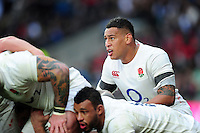 Nathan Hughes of England looks on at a scrum. RBS Six Nations match between England and Italy on February 26, 2017 at Twickenham Stadium in London, England. Photo by: Patrick Khachfe / Onside Images