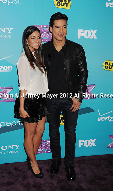 LOS ANGELES, CA - NOVEMBER 05: Mario Lopez and Courtney Mazza arrive at FOX's 'The X Factor' finalists party at The Bazaar at the SLS Hotel Beverly Hills on November 5, 2012 in Los Angeles, California.