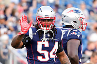 August 9, 2018: New England Patriots linebacker Dont'a Hightower (54) warms up prior to the NFL pre-season football game between the Washington Redskins and the New England Patriots at Gillette Stadium, in Foxborough, Massachusetts.The Patriots defeat the Redskins 26-17. Eric Canha/CSM