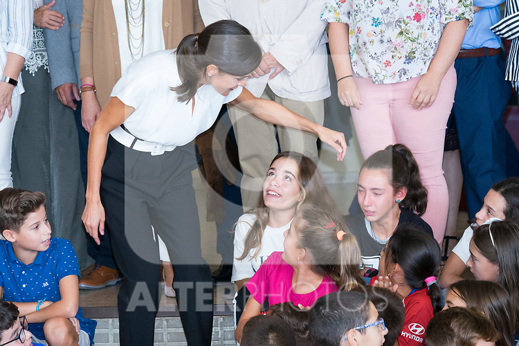 Queen Letizia of Spain hugs a girl who is crying during the opening of School Year in Torrejoncillo (Caceres). September 17, 2019. (ALTERPHOTOS/Francis Gonzalez)