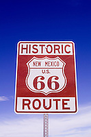 Famous Route 66 sign for road in most famous road in USA America in New Mexico