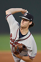 Starting pitcher Ian Anderson (19) of the Rome Braves delivers a pitch in a game against the Greenville Drive on Saturday, August 12, 2017, at Fluor Field at the West End in Greenville, South Carolina. Rome won, 4-0. (Tom Priddy/Four Seam Images)