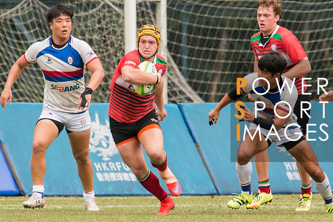Tomasi Tirikula of United Arab Emirates runs with the ball during the match between South Korea and United Arab Emirates of the Asia Rugby U20 Sevens Series 2016 on 12 August 2016 at the King's Park, in Hong Kong, China. Photo by Marcio Machado / Power Sport Images