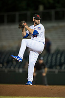 Scottsdale Scorpions relief pitcher Joe Zanghi (54), of the New York Mets organization, delivers a pitch during an Arizona Fall League game against the Mesa Solar Sox on October 9, 2018 at Scottsdale Stadium in Scottsdale, Arizona. The Solar Sox defeated the Scorpions 4-3. (Zachary Lucy/Four Seam Images)