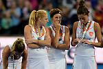 ENG - London, England, August 30: Players of The Netherlands look dejected after loosing the final of the Unibet EuroHockey 2015 geld medal match against England on August 30, 2015 at Lee Valley Hockey and Tennis Centre, Queen Elizabeth Olympic Park in London, England. Final score 2-2 (3-1 SO). (Photo by Dirk Markgraf / www.265-images.com) *** Local caption *** Margot van GEFFEN #23 of The Netherlands, Carlien DIRKSE van den HEUVEL #9 of The Netherlands, Naomi van AS #18 of The Netherlands