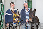 DONKEYS: Bernie McDonagh and Joe Bentley (Tralee) who entered their donkeys in the Donkey Race in aid of Kerry General Hospital at Kingdom Greyhound Stadium, Tralee on Friday night..
