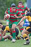 Tevita Finau heads upfield. Counties Manukau Premier Club Rugby game between Waiuku and Bombay, played at Waiuku on Saturday July 5th 2010. Waiuku won 59 - 14 after trailing 12 - 14 at halftme.