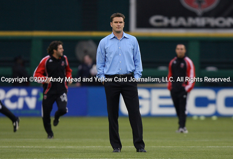 14 April 2007: Kansas City's rookie head coach Curt Onalfo.  DC United lost 4-2 to the Kansas City Wizards at RFK Stadium in Washington, DC in their Major League Soccer 2007 regular season home opener.