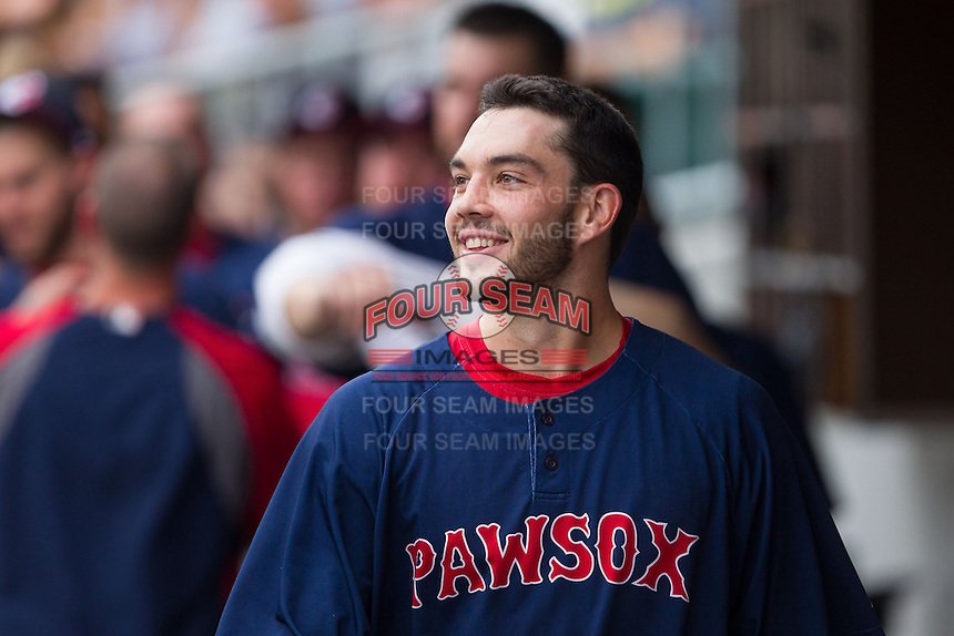 Blake Swihart (2) of the Pawtucket Red Sox is all smiles even though his teammates ignored him after he hit his first AAA home run against the Charlotte Knights at BB&T Ballpark on August 8, 2014 in Charlotte, North Carolina.  The Red Sox defeated the Knights  11-8.  (Brian Westerholt/Four Seam Images)
