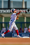 2 March 2019: Washington Nationals infielder Wilmer Difo turns a double-play during a Spring Training game against the Minnesota Twins at the Ballpark of the Palm Beaches in West Palm Beach, Florida. The Nationals defeated the Twins 10-6 in Grapefruit League play. Mandatory Credit: Ed Wolfstein Photo *** RAW (NEF) Image File Available ***
